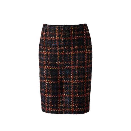 Jupe bouclé à carreaux  avec rubans Nouveau look pour la jupe classique à carreaux : une structure bouclée.