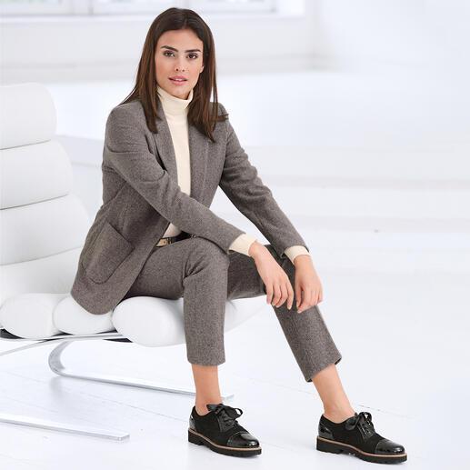 Pantalon ou Blazer mini pied-de-poule Seventy Relooking tendance pour le costume à carreaux classique : nouvelles couleurs. Coupe masculine. Jersey doux.