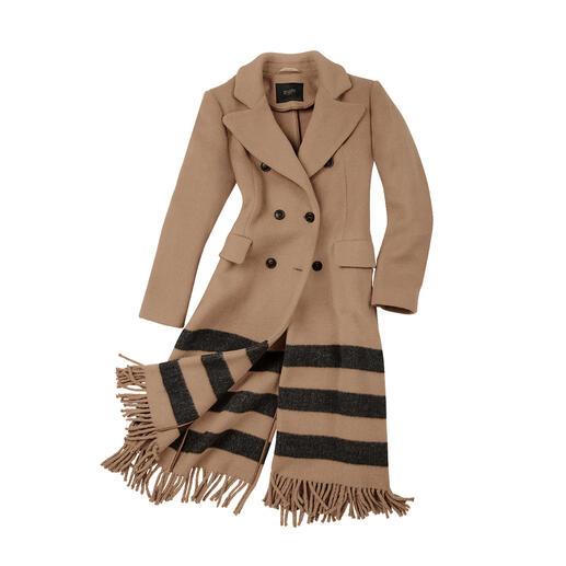 Manteau camel Venezia Seventy Une réactualisation tendance pour le manteau camel classique : forme blazer, rayures, franges.