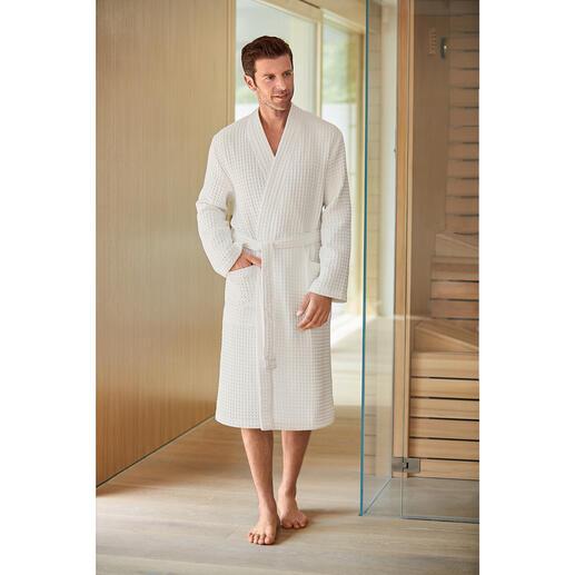 Peignoir en piqué bio, pour homme Combinaison rare : du coton biologique contrôlé et un piqué gaufré absorbant. De Taubert.