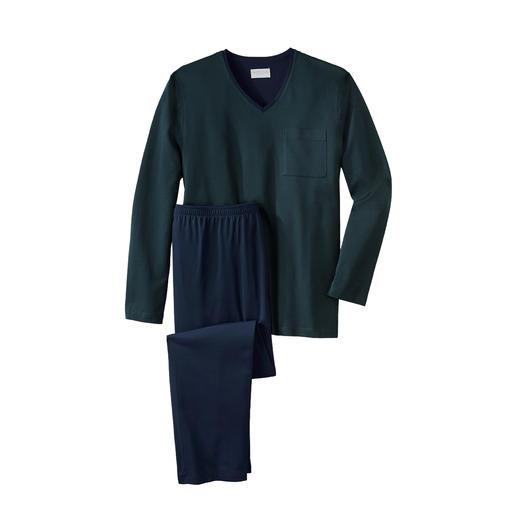 Pyjama gentleman Novila, mini losanges Un haut confortable et un pantalon léger en jersey de coton torsadé et mercerisé. Par Novila.