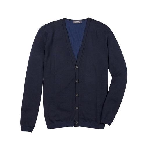 Cardigan double-face Seldom À l'extérieur, la chaleur de la laine mérinos. À l'intérieur, la douceur du coton GIZA. De Seldom.