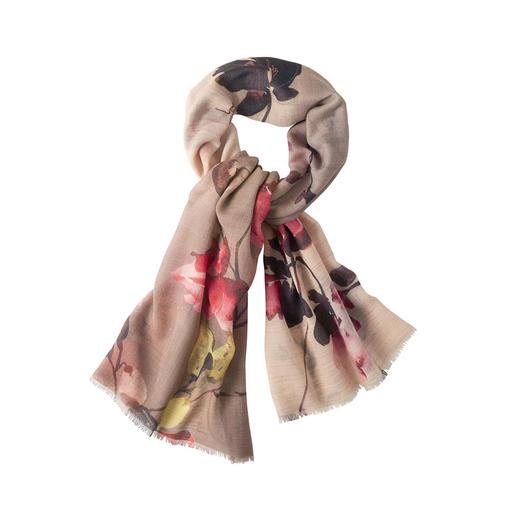 Châle floral métallique Le foulard en laine vierge léger et réchauffant avec dégradé de couleurs artistique.