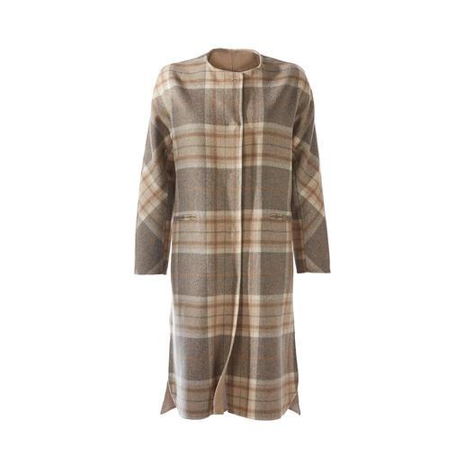 Manteau surdimensionné à carreaux Steinbock Coupe surdimensionnée décontractée. Tons naturels à la mode. De Steinbock, Autriche.