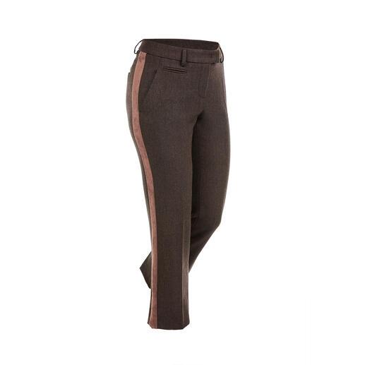 Pantalon à galon Seductive « Blended Wool », brun Doux et non grattant, agréablement extensible, néanmoins résistant et lavable en machine.