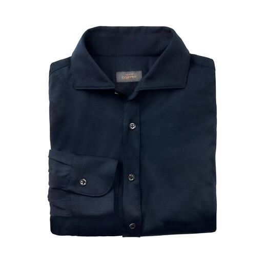 Chemise en jersey de laine Edward Copper Aussi élégante qu'une chemise d'affaire. Aussi réchauffante qu'un pull en maille fine.
