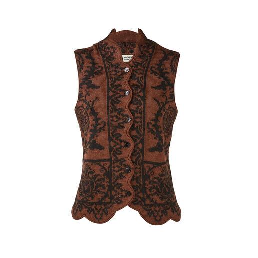 Veste ornementale en alpaga Motifs élégants. Coupe moulante flatteuse. Et pourtant aussi confortable que les tricots standards.
