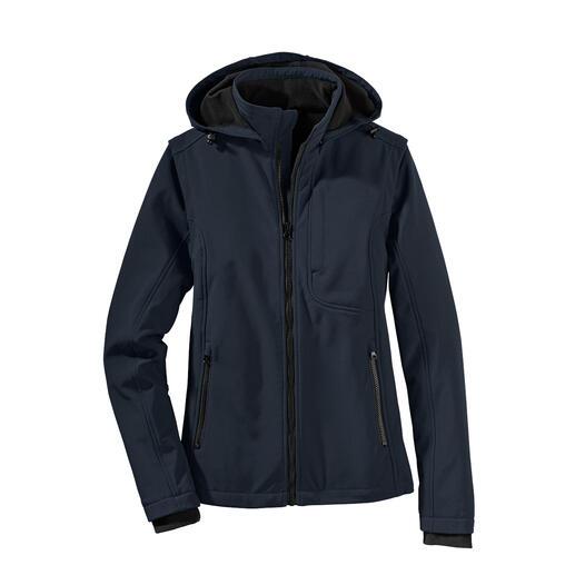 Veste en softshell La veste en softshell qui se transforme en léger gilet en un rien de temps.