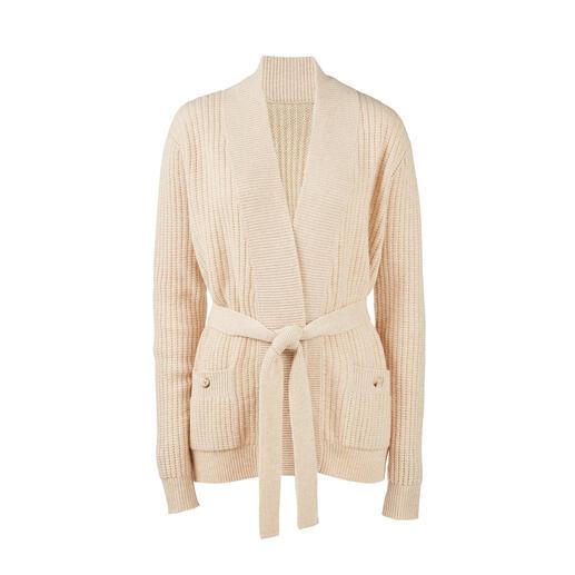 Cardigan à maille côtelée avec ceinture à nouer Le cardigan plat et féminin parmi les vestes en maille côtelée tendance. Ennobli de cachemire.