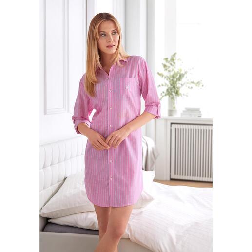 Chemise de nuit Pink Stripes Ralph Lauren Batiste aérée en coton et viscose. Noble style Preppy de Ralph Lauren, New York.