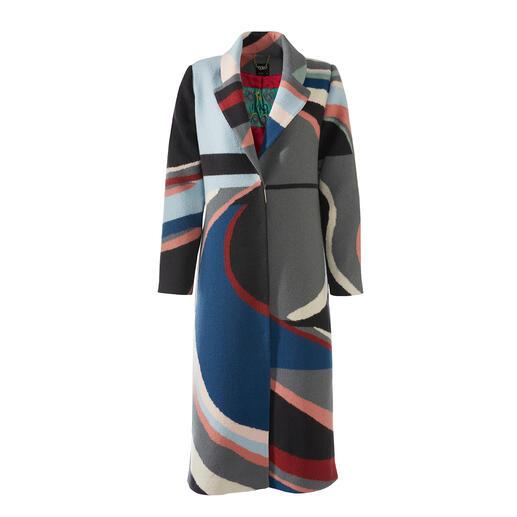 Manteau en laine bouillie IVKO Une laine résistante au vent et aux intempéries. Motif intarsia tendance. Longueur maxi actuelle.