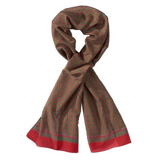 Écharpe cravate alpi Un tissu italien des plus fins. Motif médaillon classique. Deux styles de port.
