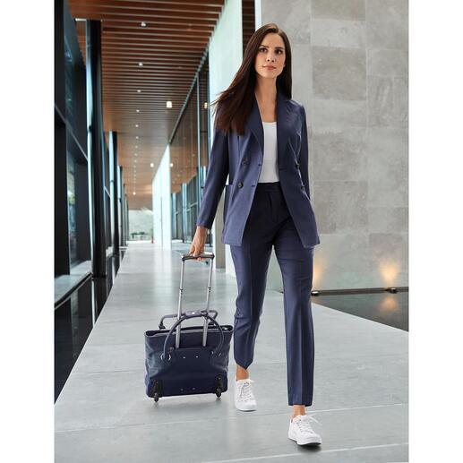 Blazer ou Tailleur-pantalon T-Jacket Coupe décontractée et confortable. Laine vierge haute technologie lavable et respirante. Bleu indigo frais.