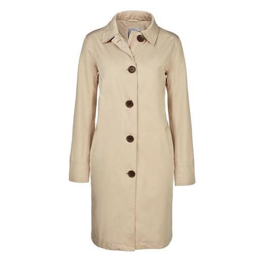 Travelcoat Happy RainyDays Rare coup de chance : le manteau de voyage élégant qui protège parfaitement de la pluie.