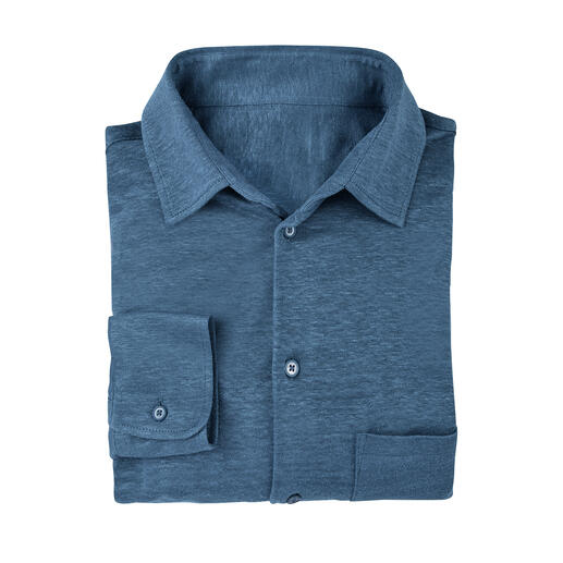 Chemise Sunset Tricotée et non pas tissée : une chemise en lin peut être aussi confortable (et peu froissable).