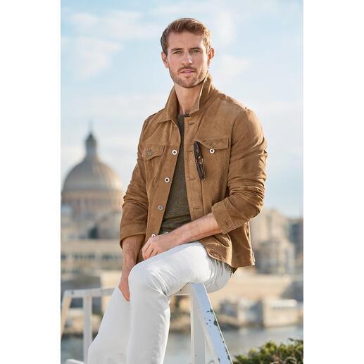 Veste en cuir style jean perforée