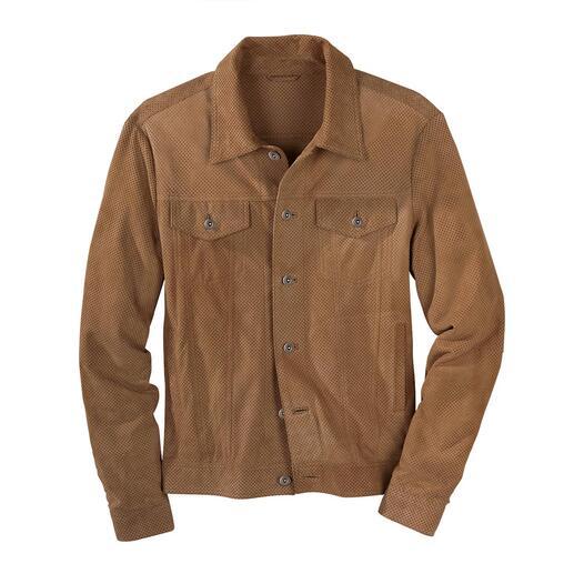 Veste en cuir style jean perforée Fabriquée en suède de chèvre léger et souple – finement perforée et non doublée.