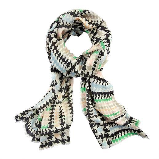 Écharpe motif pied-de-poule Abstract L'écharpe résistante à la déchirure, respirante et délicatement brillante. Fabriqué en Italie par Abstract.