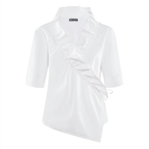 Chemisier cache-coeur à volants Armagentum® Tout sauf ennuyeux : le chemisier blanc classique avec une réactualisation à la mode.