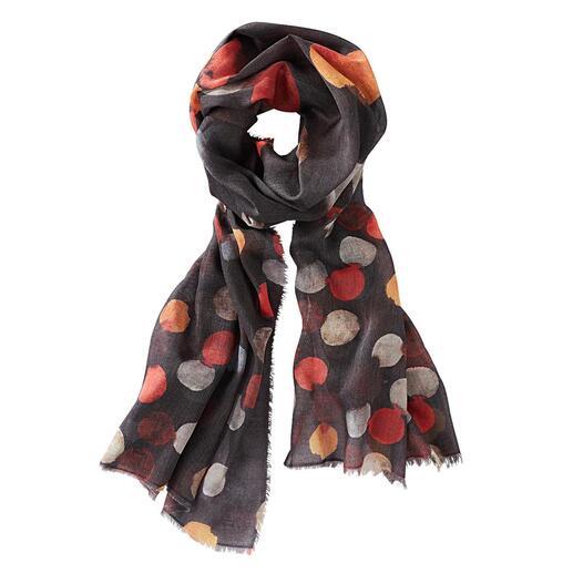 Foulard à pois Aquarelle Ancini, Noir/Multicolore 6 ravissantes teintes aquarelle. Étoffe opulente. Matériau résistant.