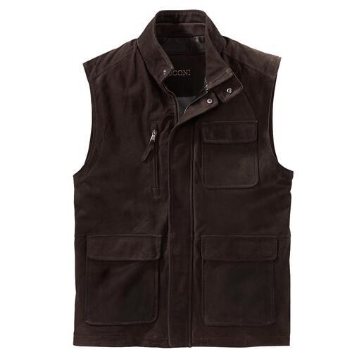 Gilet en cuir lavable 7 poches Passez votre gilet en cuir chèvre velours ultra doux au lave-linge, il en ressortira comme neuf !