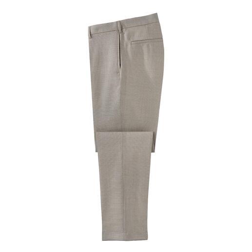 Pantalon en toile hopsack Le pantalon en toile réchauffant grâceà la laine vierge, aéré grâce à la structure en hopsack.