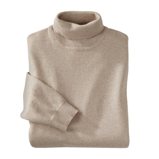 Pull à col roulé Ragman Finement tricoté à partir de coton à longues fibres avec une touche de cachemire. Par Ragman.