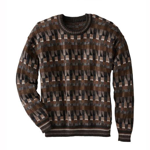 Pullover en alpaga « Mosaiko » Un chef-d'œuvre venu des Andes. En 100 % alpaga. Réalisé à la main, avec 11 coloris.