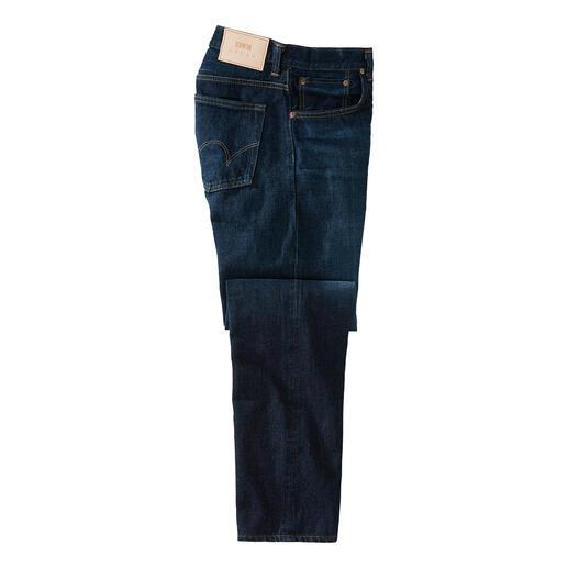 Jean Selvage Edwin Le jean selvedge classique : denim particulièrement dense et résistant.