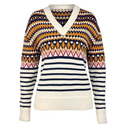 Pull en tricot jacquard Saint James Coupe contemporaine, matière douce et design frais et exclusif. Pour hommes et femmes.
