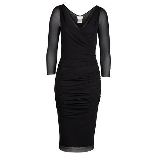 Little Black Dress Fuzzi Légère de 170 grammes. Faite de jersey de tulle rare et extrêmement délicat. Conçu en Italie : par Fuzzi.