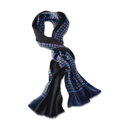 Châle double-face rétro Motif rétro classique et couleur contemporaine. Le châle double-face en soie et laine, idéal par tous les temps.