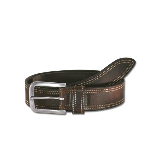 Ceinture en cuir Toscane La ceinture parfaite pour jeans, en cuir vachette robuste. Tannée et affinée en Toscane.