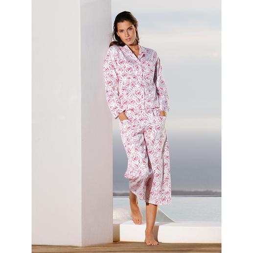 NOVILA Pyjama « Roses », rouge framboise Le pyjama pour la première bonne impression le matin.
