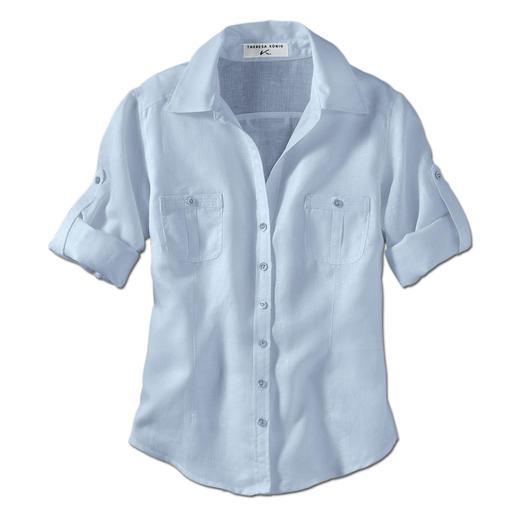 Chemisier en lin Albini à manches retroussées Enfin un chemisier en lin suffisamment habillé pour le bureau.