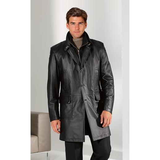 Manteau toutes saisons en cuir de renne Une rareté qui vous ravira en toute saison : le manteau court en cuir de renne.