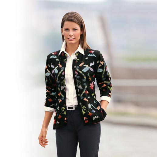 Veste en tricot en alpaga Fleurs Le chef d'œuvre provenant des Andes. Veste en tricot en précieux alpaga. Tricotée à la main en 33 couleurs.