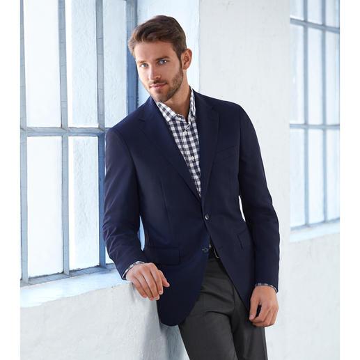 Veston climatisé « Super 130 » Avec 1 300 000 pores tissés, votre veston bleu au style impeccable est idéal pour l'été. Très soigné et aéré.