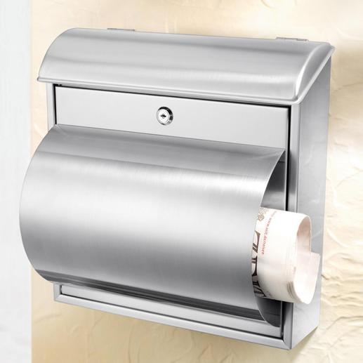 Boîte aux lettres en acier  inoxydable Une qualité solide et durable. Avec porte-journaux pratique.